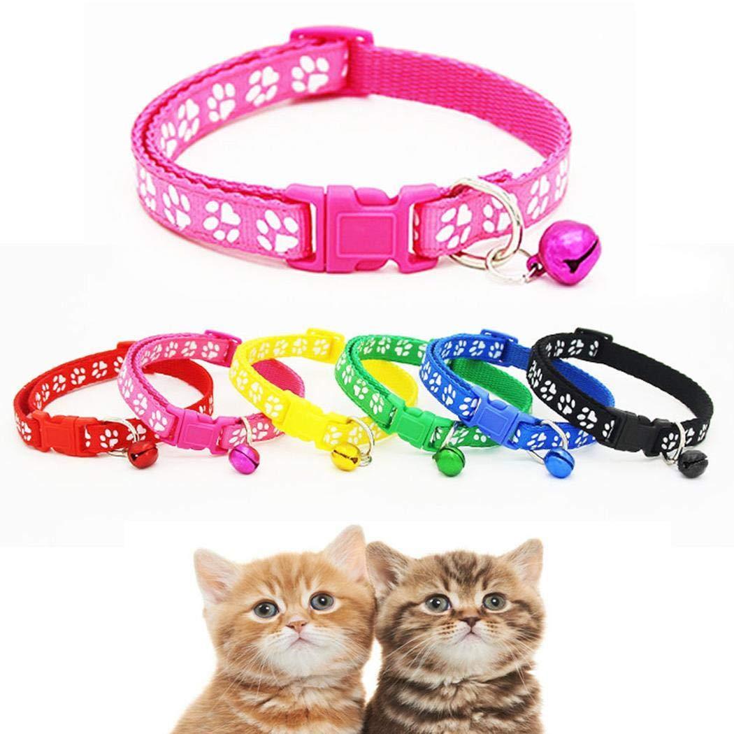 Zuionk Collar para gato con abrazadera, para mascotas y gatos, de piel suave, acolchado, resistente a la intemperie, resistente, impermeable, 6 colores