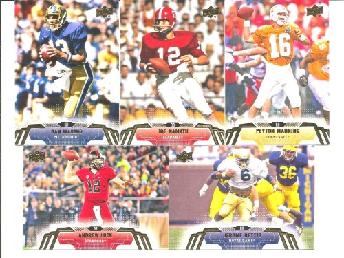 2014 Upper Deck Football Series Complete Mint Basic 50 Card Hand Collated Set with Hall of Famers and Stars Pictured in Their College Uniform Including Peyton Manning Joe Montana Andrew Luck and More (Box Deck 2014 Upper)