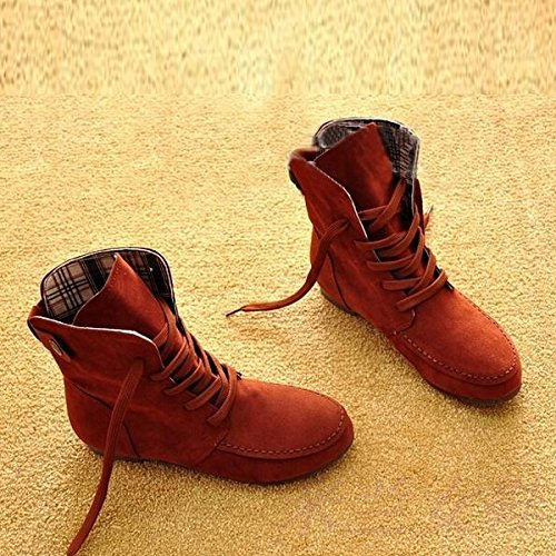 TOOGOO(R) Autumn Boots Snow Boots for Women Martin Boots Suede Leather Boots size11 Iron red Y6o1m6e