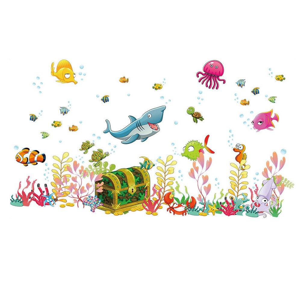 Mondo sottomarino pesci fai da te per bambini Adesivi da parete per bambini Camera da letto Camera dei bambini Sfondo Decor Sticker rimovibile decalcomanie Winhappyhome