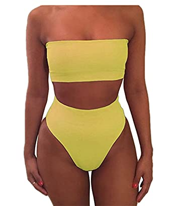 106a2b7114efb Amazon.com  Shele Women Sexy Plain Bandeau Top High Waist Bottom Bikini Set   Clothing