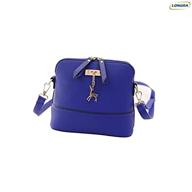 09cf65a3e9 Generic Women Vintage PU Leather Shoulder Bags Shell Model Handbag (25 10  19cm) (Blue )  Amazon.co.uk  Clothing