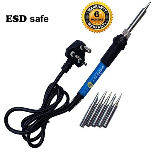 amiciTools True ESD Safe Soldering Iron with Adjustable Temperaturea and 5 Bits Of Different Shapes, 60W Soldering Equipment at amazon