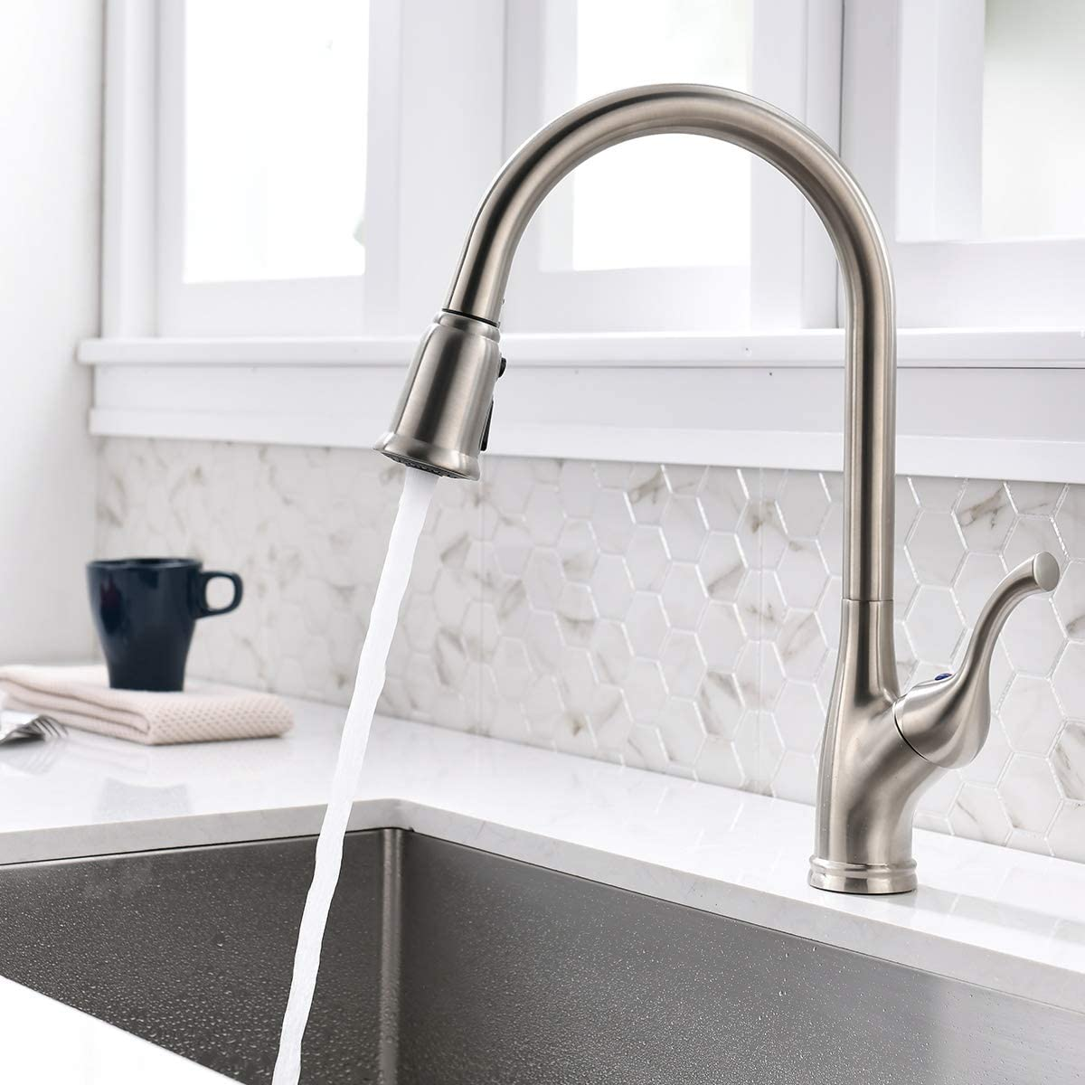 High Arc Kitchen Faucet with Pull down Sprayer 360 Swivel Brushed Nickel K109BN Single Handle Pull out Kitchen Sink Faucet Without Deck Plate