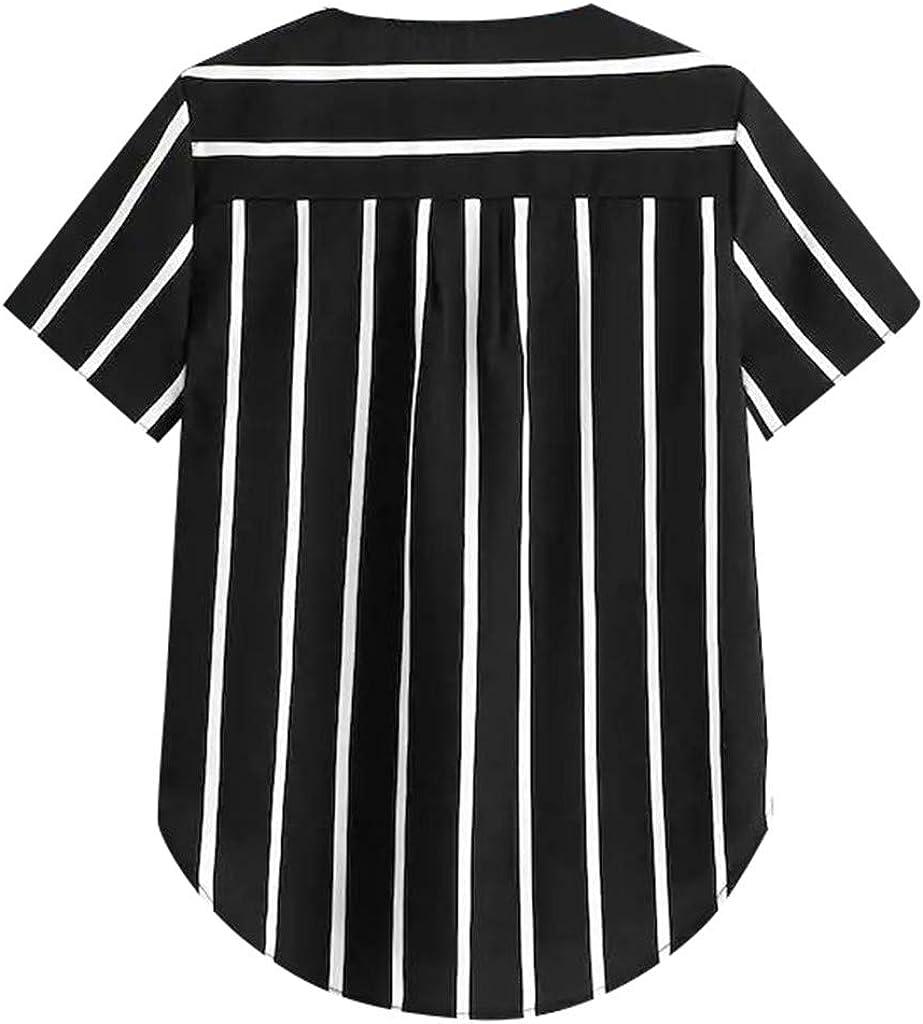 Blusas Mujer Verano Blusa de Manga Corta con Estampado de Rayas y Lunares con Cuello en V de Mujer Elegantes de Fiesta de Oficina Camisa Básica Sencillo LiNaoNa: Amazon.es: Ropa y accesorios