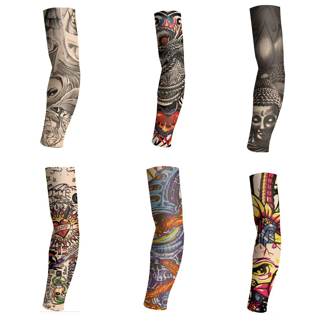 6 Sheets Extra Large Fake Temporary Tattoo Arm sleeve arm sleeve Full Arm Sun protection seamless stretchable-3