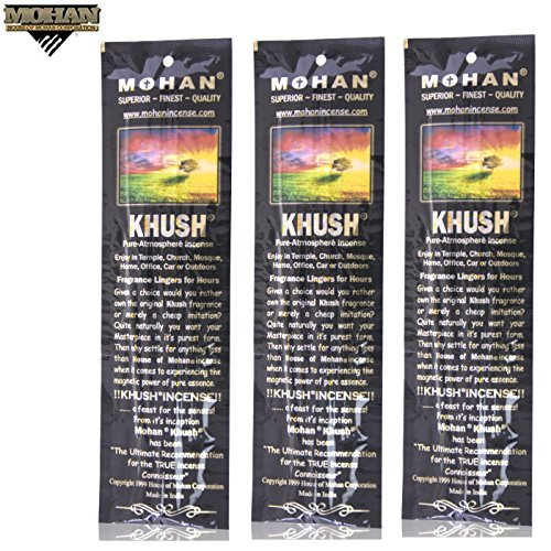 Herbs Finest - Incense Sticks Khush Scents by Mohan® - Pack of 250 Sticks (9.2 Inches Tall) - Makers of the World Famous Khush (Kush) Scent - Premium Pure Charcoal Incense Hand Rolled in the Finest Herbs, Spices, Oils, Honey, and Sandalwood Powder