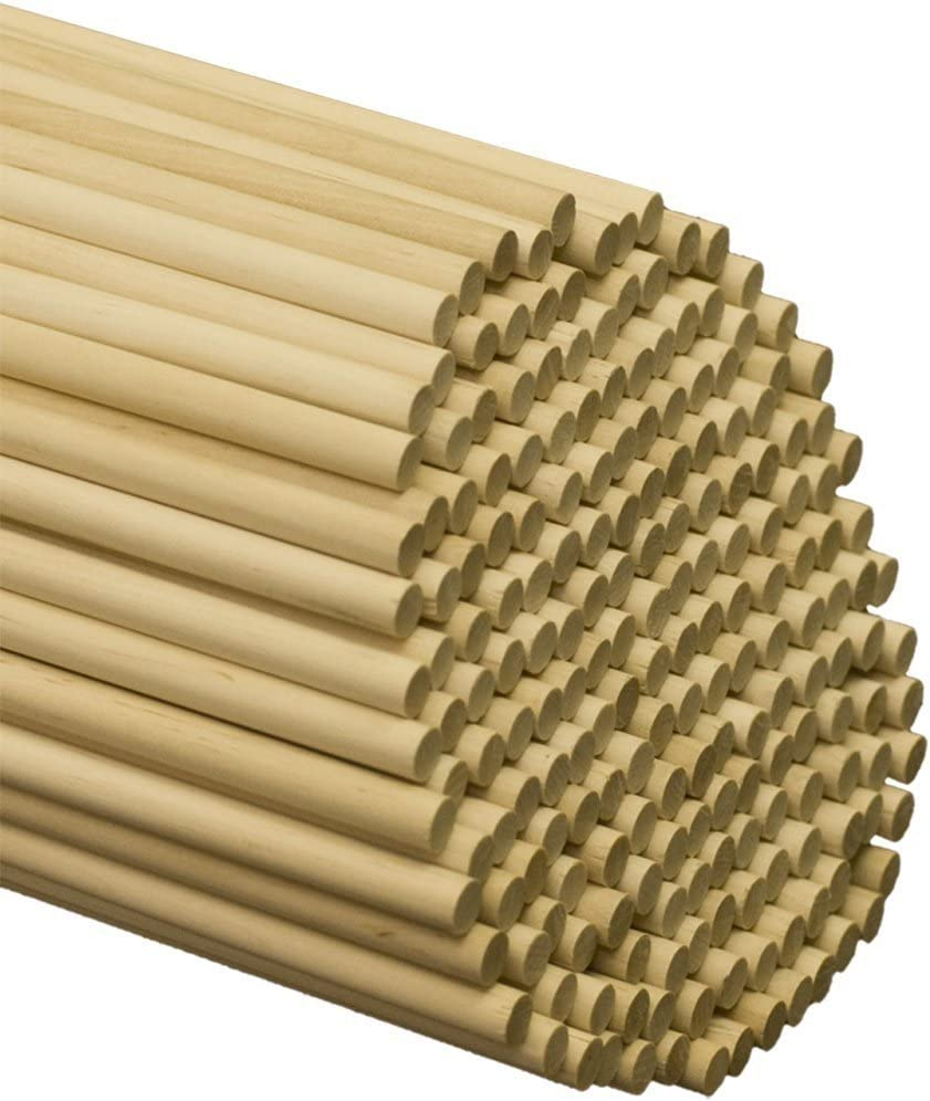 Dowel Rods Wood Sticks Wooden Dowel Rods, 3/8 x 12 Inch Unfinished Hardwood Sticks for Crafts and DIYers, 50 Pieces by Woodpeckers