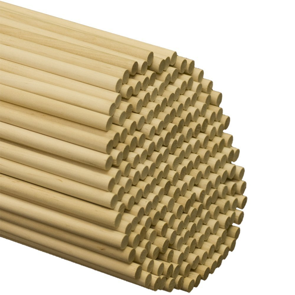 "Wooden Dowel Rods 3/8"" x 12"", Pack of 25 Unfinished Hardwood Craft Dowel Sticks 
