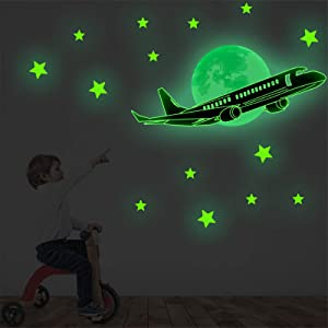 Baby Nursery Glow in The Dark Moon & Stars for Ceiling with Spacecraft Wall Decals Stickers Cartoon Glitter Airplane for Kids Classroom Children Playroom Toddler Bedroom Boys Girls Birthday Gift Party