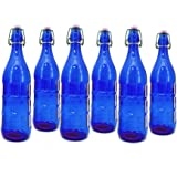 Modern Home 1L/34oz Culaccino Swing Top Round Glass Bottle - Smooth Cobalt Blue - Set of 6