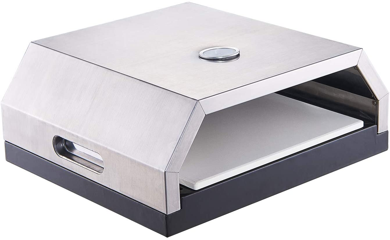 GRILIFE Outdoor Pizza Oven Grill Top Pizza Oven with Stone for Gas or Charcoal Grill