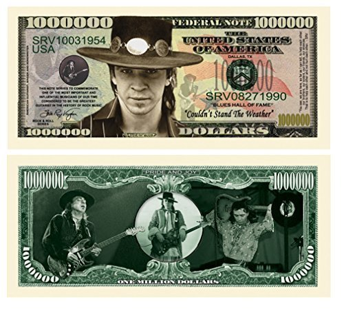 Stevie Ray Vaughan Million Dollar Bill Collectible in Currency Holder by American Art Classics