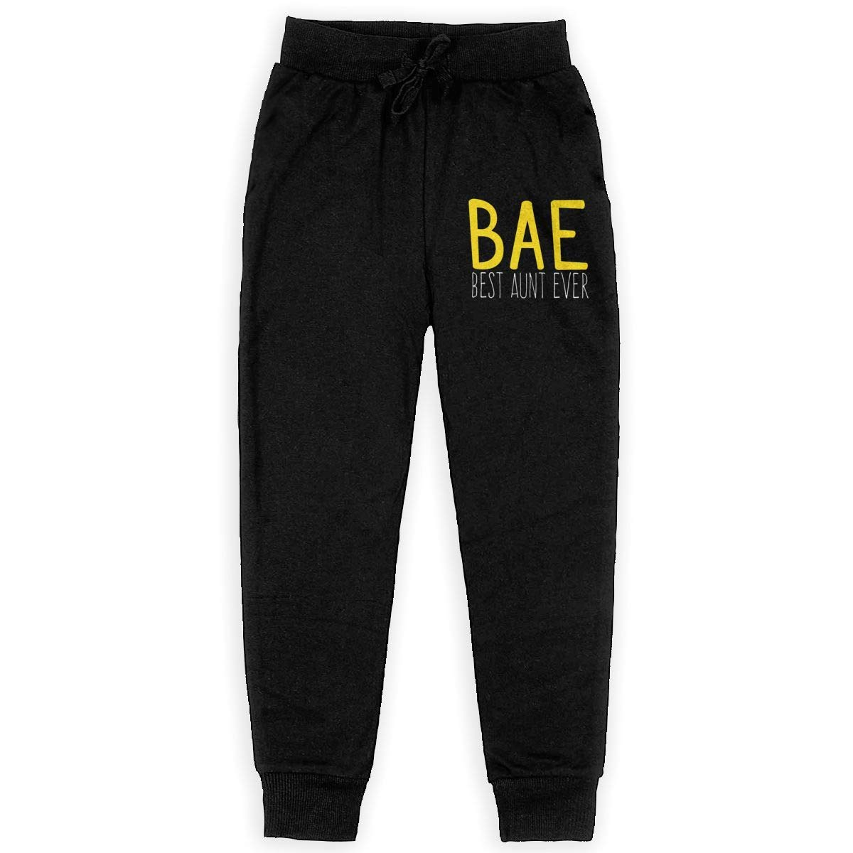 Dunpaiaa Bae Best Aunt Ever Boys Sweatpants,Joggers Sport Training Pants Trousers Black