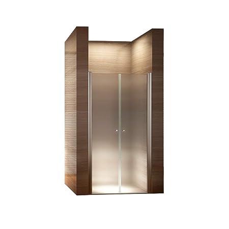 i-flair Satinierte Duschtür aus 6mm Sicherheitsglas mit Nanobeschichtung, HÖHE: 185 cm - ALLE GRÖßEN (90cm - Verstellbar: 88-