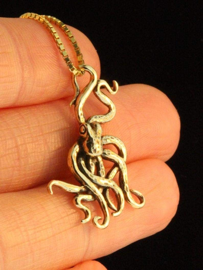 New Real Solid 14K Gold 24MM Cephalopod Octopus Charm Pendant