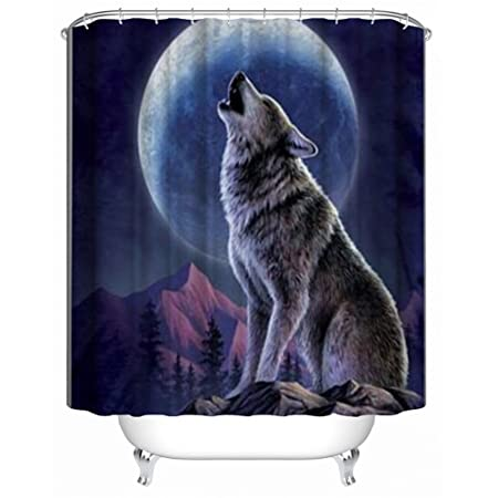 QEES Mould Resistant Polyester Shower Curtain Wolf With Free Hooks