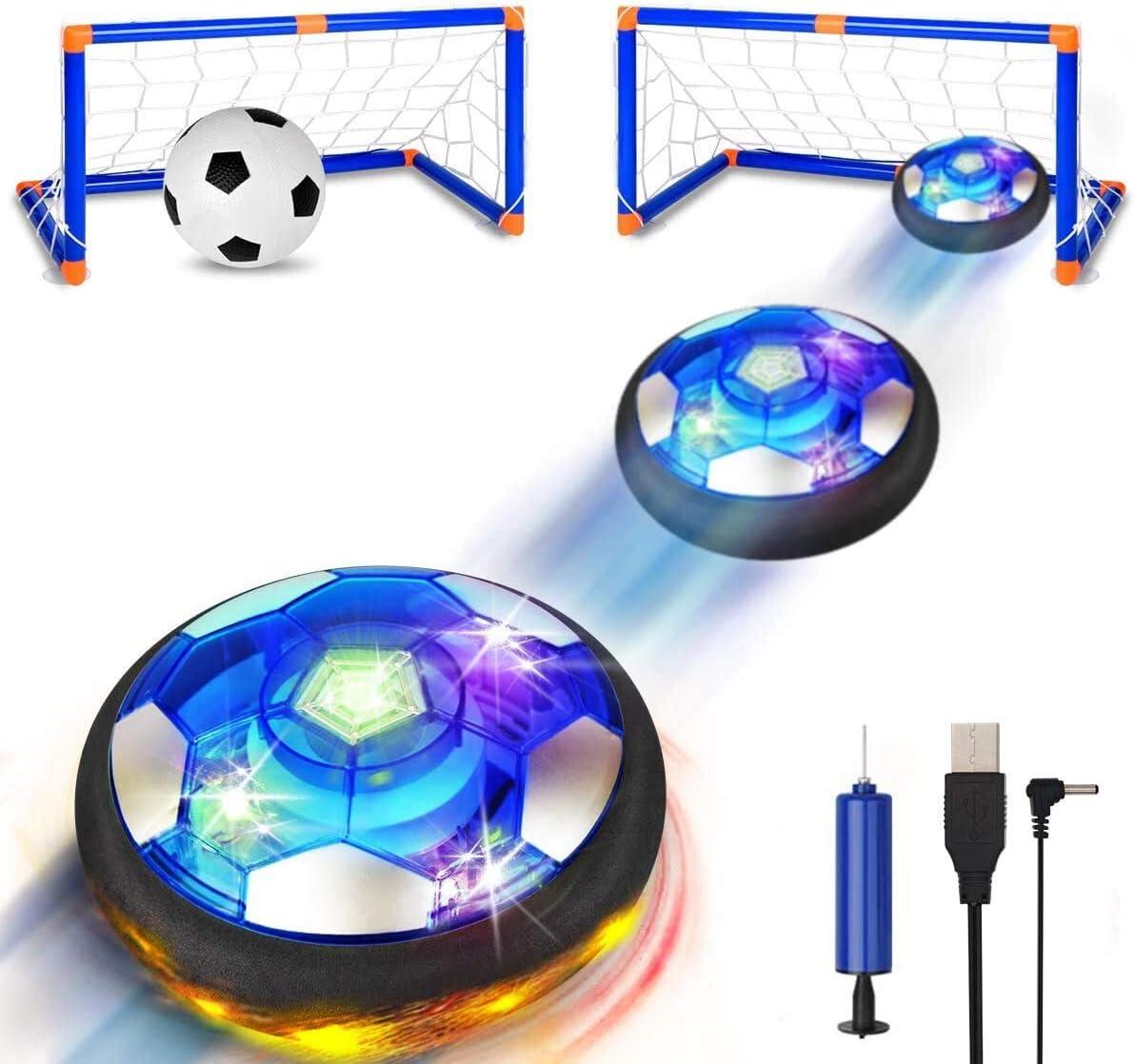 SUNNOW Air Power Soccer - Balón Fútbol Flotant Recargable Pelota Futbol con Soft Foam Bumpers y Luces LED Juguetes Aire Fútbol Juguete Balón de Fútbol para Niños Niñas Regalos Cumpleaños (Azul)