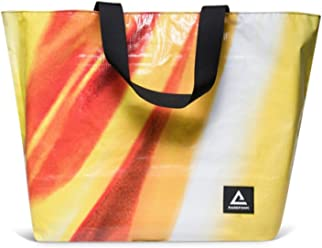 Rareform Recycled Billboard Utility Tote Bag, 15 in x 22 in (Yellow Red Zig)