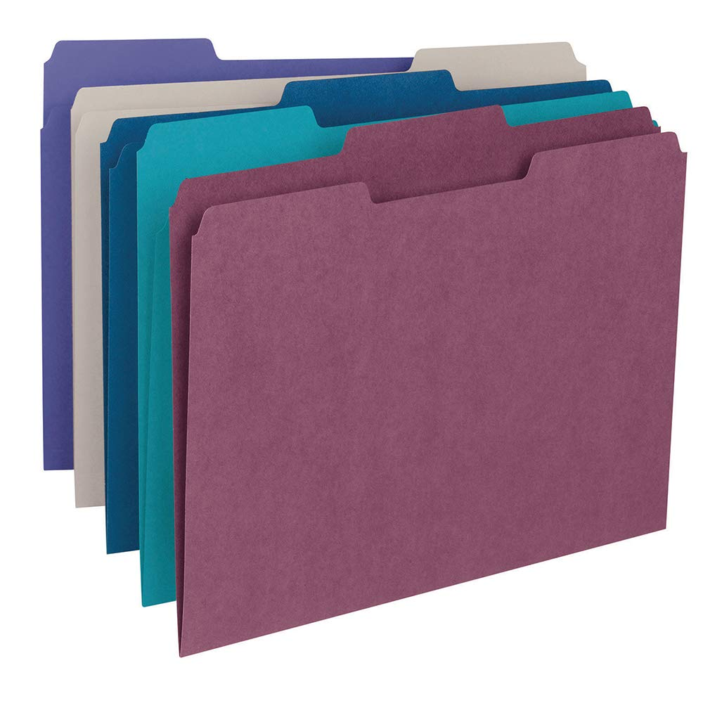 Smead File Folder, 1/3-Cut Tab, Letter Size, Assorted Colors, 100 per Box, (11948) by Smead