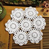 kilofly Crochet Cotton Lace Table Placemats Doilies Pack, 4pc, White, Blossoms, 10 inch