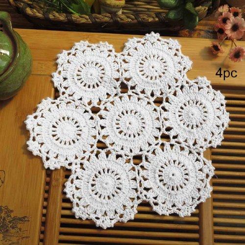 - kilofly Crochet Cotton Lace Table Placemats Doilies Pack, 4pc, White, Blossoms, 10 inch