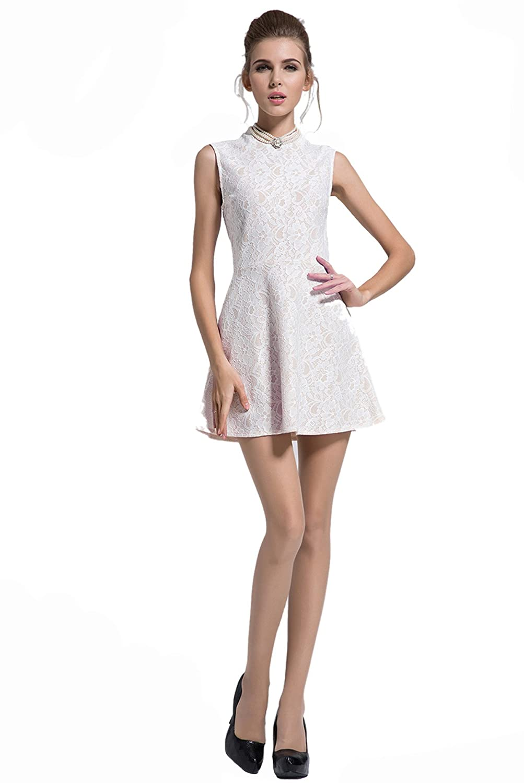 Purpura Erizo Womens Premium Cutwork Pleated Zipper Back Skater Dress
