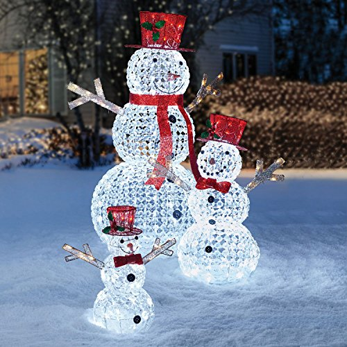 Outdoor Lighted Snowman Family in US - 4