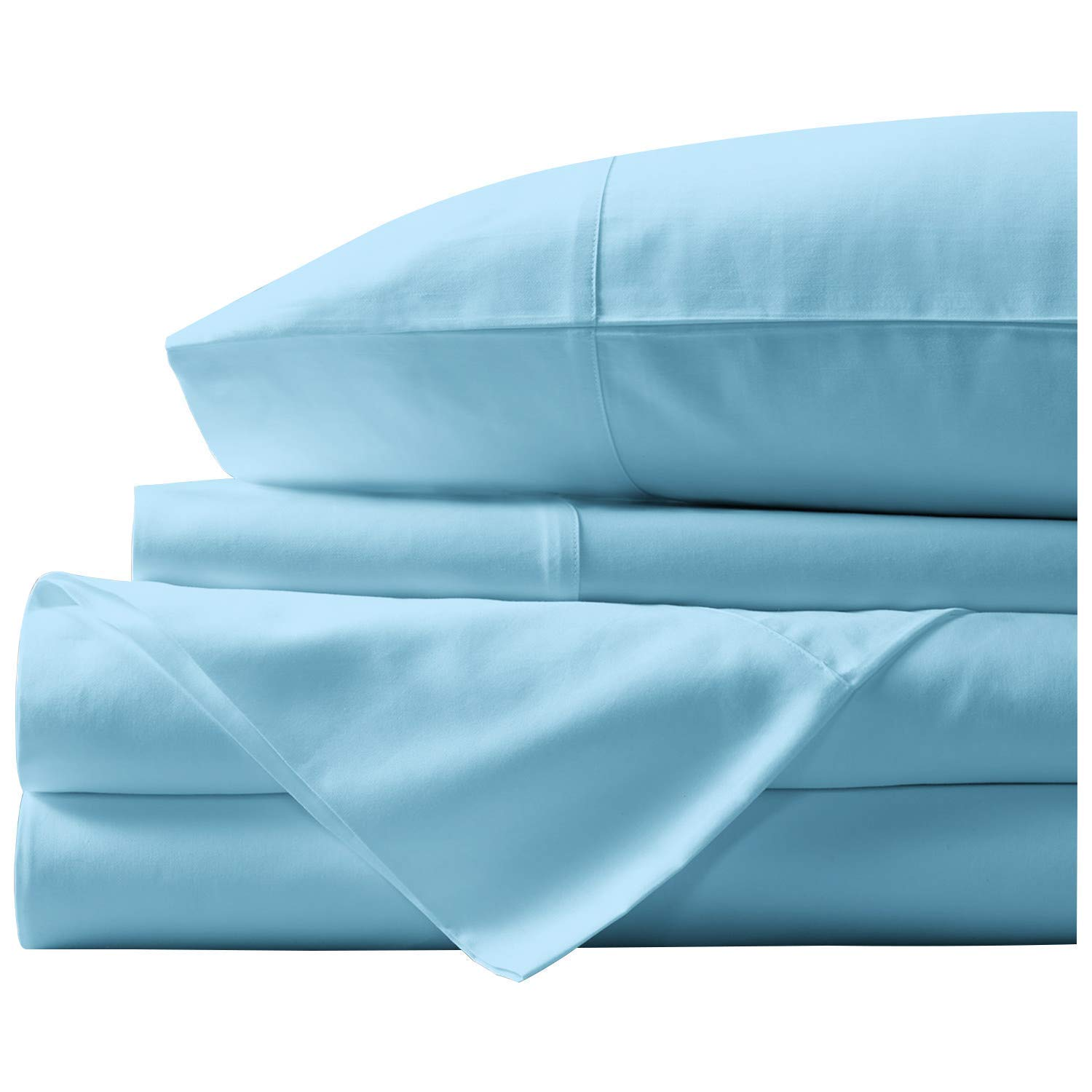 "Paramount Dyeing Co. 100% Egyptian Cotton 4-Pc Sheet Set 1000 TC Premium Quality Luxurious Feel Italian Finish Bedding Set Fits Mattress Up to 18"" Deep Pocket Twin Sky Blue"