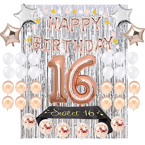 "Sweet 16 Party Supplies 16th BIRTHDAY PARTY SUPPLIES DECORATIONS - Rose Gold Happy Birthday Balloons Banner, 40"" Number 16 Mylar Balloon, White Rose Gold Latex -"