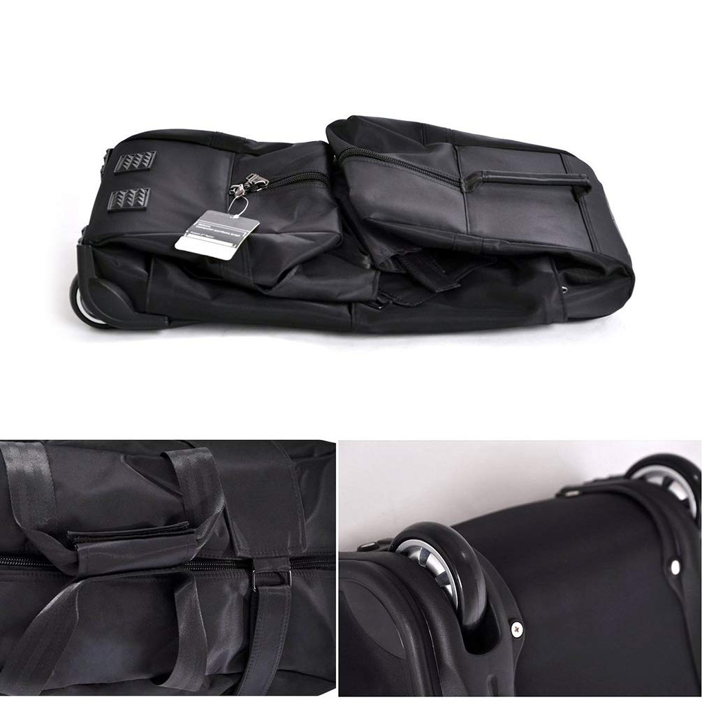 Black YANJINGHONG Rolling Duffel Bag 56-75L Foldable Large-Capacity Trolley Travel Bag Oxford Cloth Waterproof Hand Luggage Travel Check-in Bag