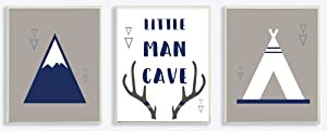 The Kids Room by Stupell Little Man Cave Mountains and Camping 3pc Wall Plaque Art Set, Proudly Made in USA