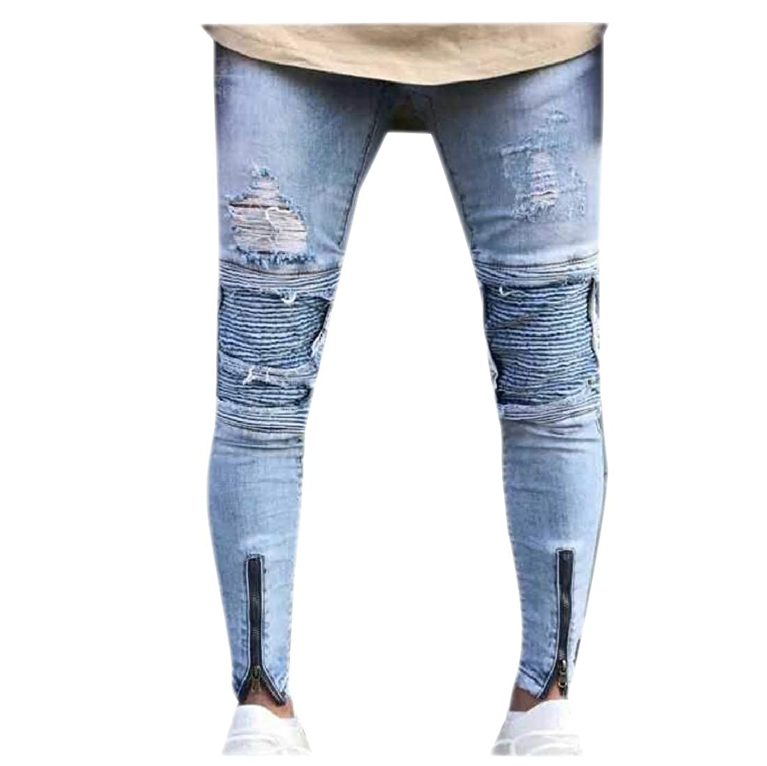 Coolred-Men Stretch Zipper Slim Fitting Trucker Hole Vogue Jeans Pants