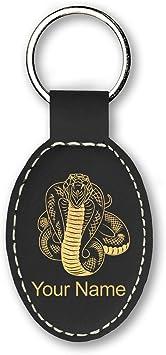 King Cobra Image Black Leather Keyring in Gift Box