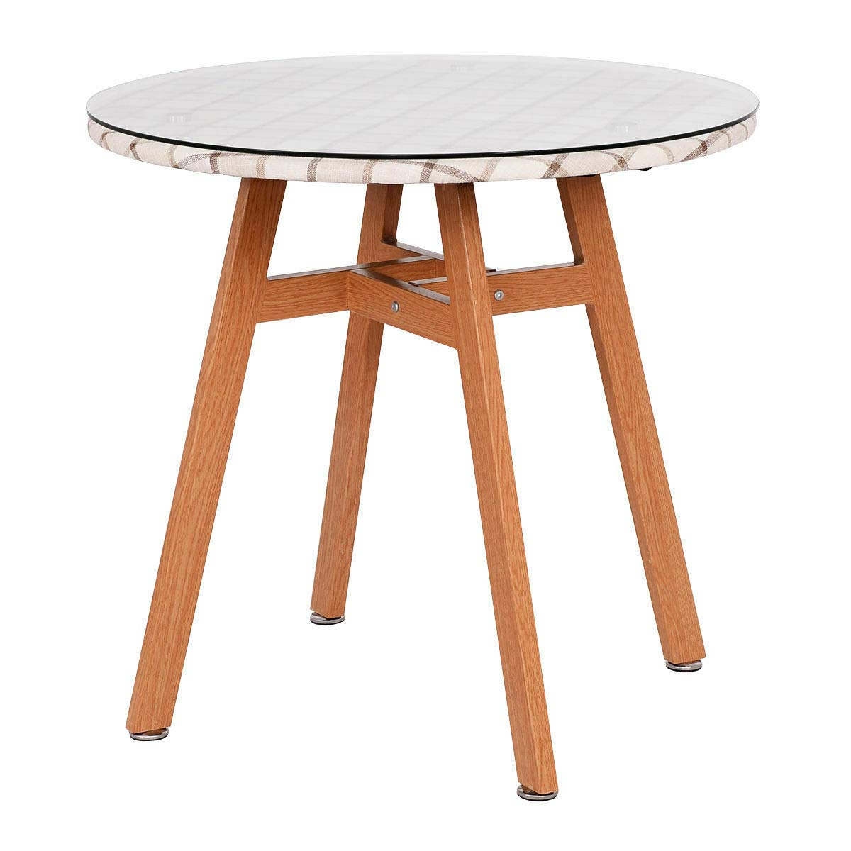 Giantex Round Dining Table Steel Frame Tempered Glass Top Home Decor Kitchen Furniture