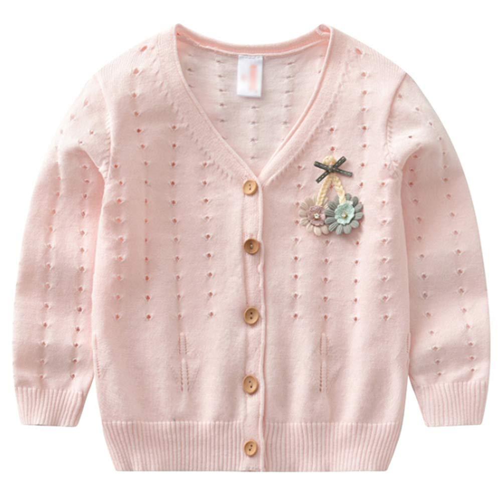 Baby M/ädchen Strickjacke Gestrickte Pullover Kinder Prinzessin Blume Langarm Jacke Cardigan Pullover Gr.90-130cm