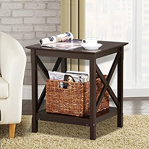 Topeakmart X Design Square Coffee Side End Table with Storage Shelf, Espresso Finish