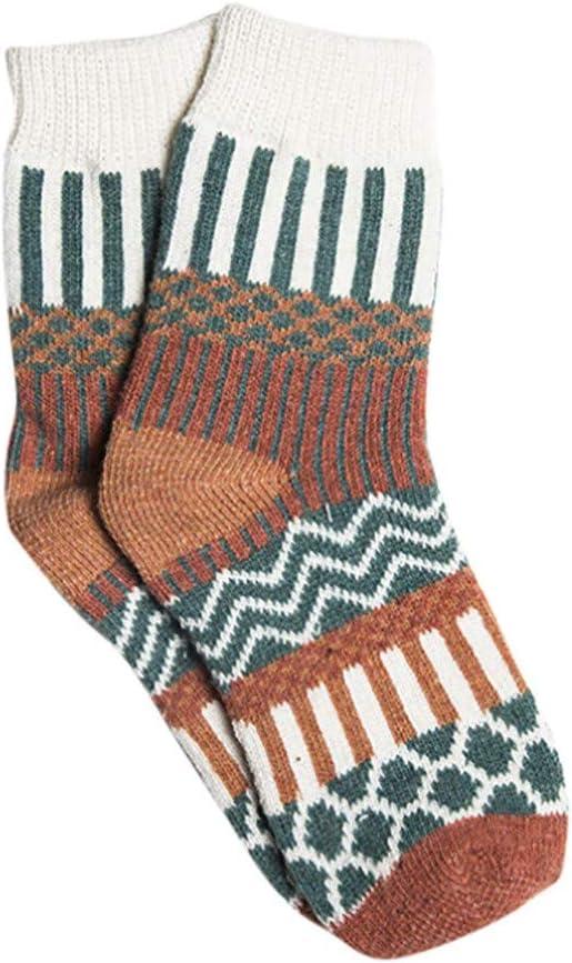 SO-buts Frauen Vintage Winter Weiche Socken,Extra Dicke Warme Gestrickte Wollsocken,Punktgedruckte Socken,Geometrische Ethnische Wind Kaschmirsocken