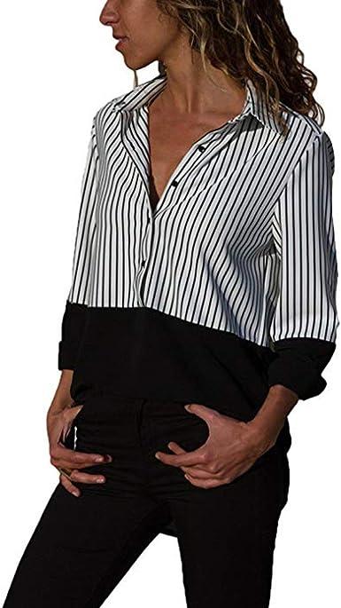 PAOLIAN Blusa de Mujer Manga Largas Otoño 2022 Camisetas Escote V Moda Estampado de Rayas Señora Ropa para Mujer Blusa con Botones Fiesta Talla Grandes Elegante: Amazon.es: Ropa y accesorios