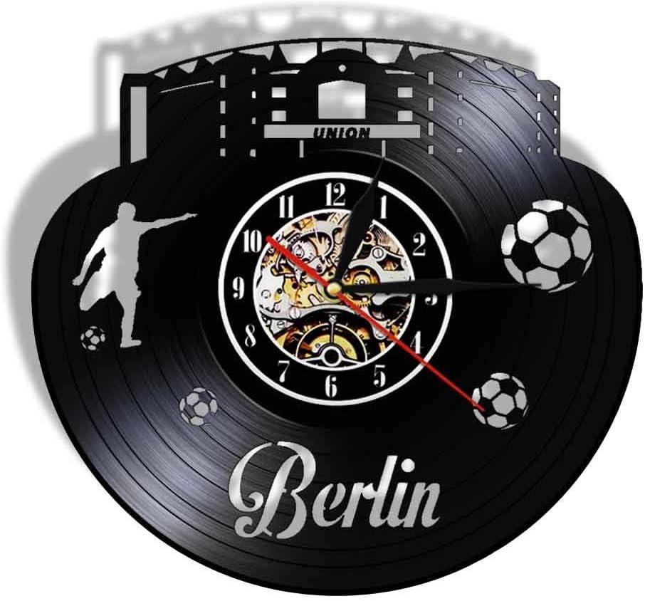 WADCRmgyx Copa Mundial de Fútbol de Berlín Paisaje Urbano Reloj de Vinilo Reloj de Pared silencioso Estadio Ventilador Reloj Regalo de Viaje