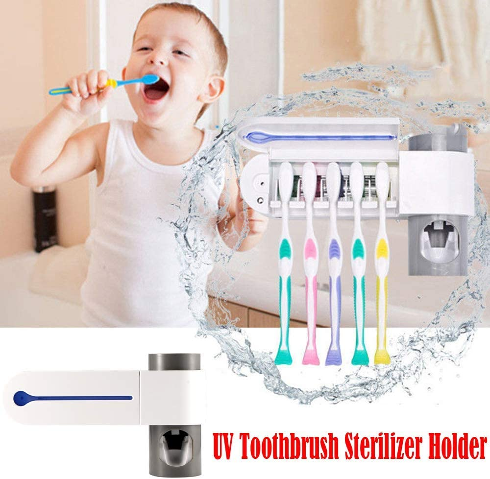 Bresuve Toothbrush Holder Toothbrush Sterilizer Automatic Storage Bracket for Automatic Toothbrush Wall Mounted for Bath Antibacterial Kids Toothbrush Sterilizer Type-1