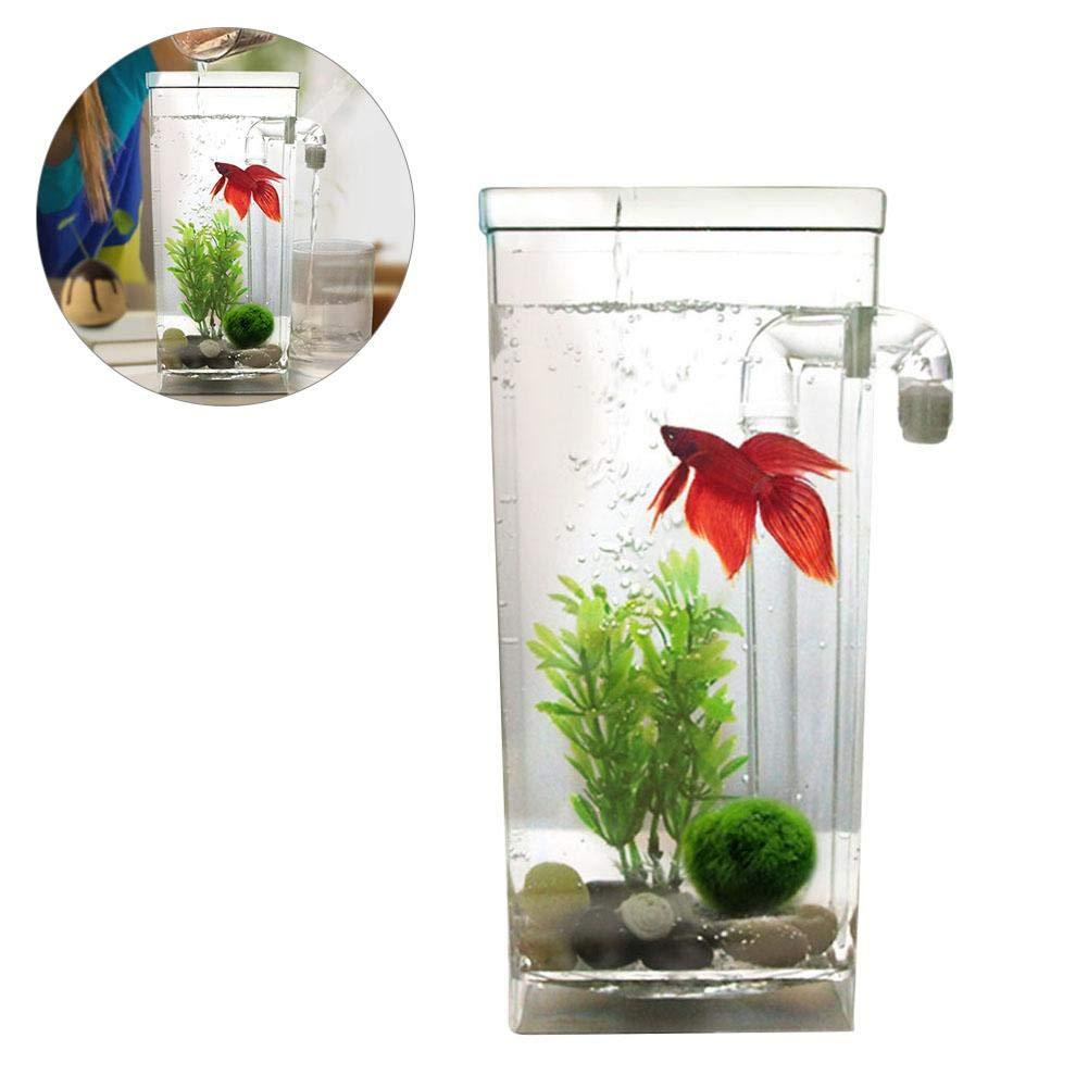 JOHLYE Plantas acuáticas artificiales, PietyPet 7 piezas Plantas de acuario grandes Decoraciones de acuario de plástico, Simulación vívida Criatura vegetal ...
