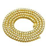 "Men's Fashion Hip Hop Lab Created Diamond 4 mm 18"" Solitaires Tennis Chain Necklace"