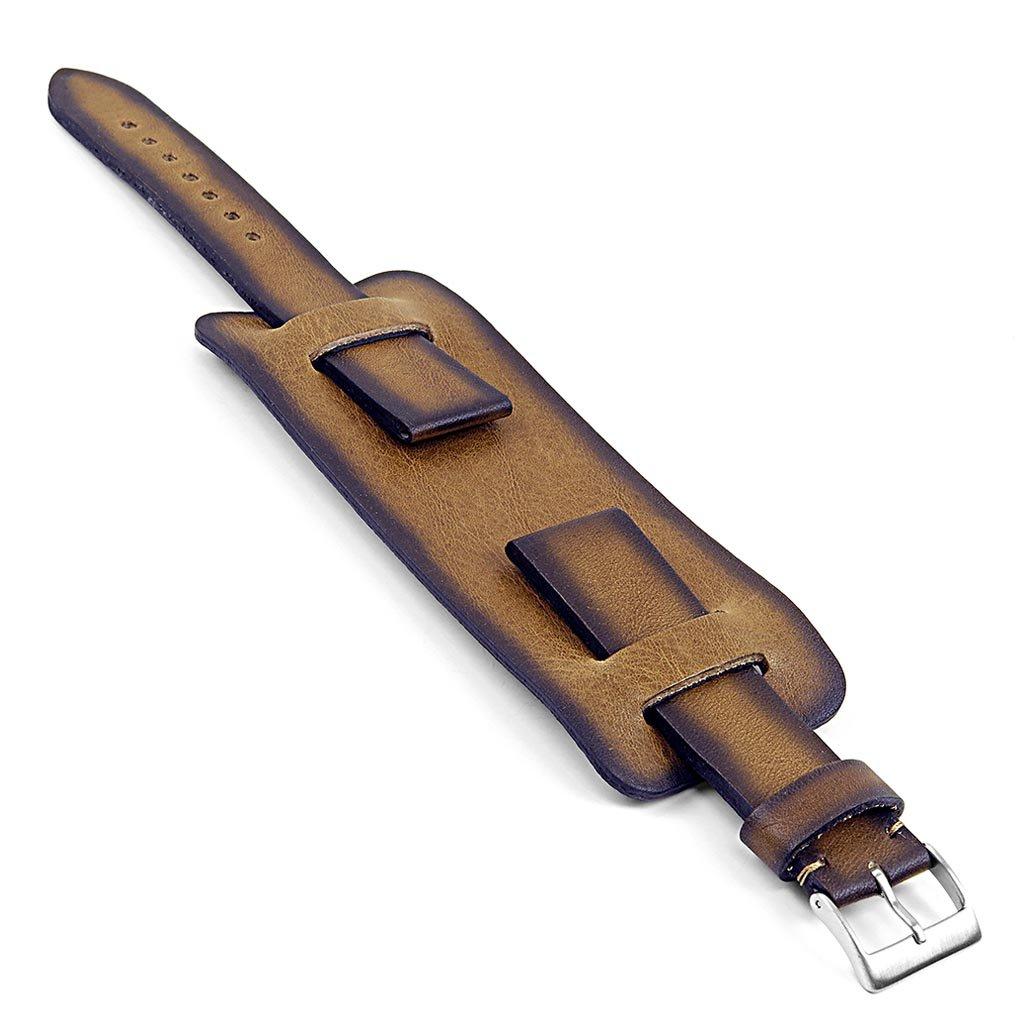 DASSARI ガントレット 手仕上げヴィンテージスタイル イタリアンレザー カフ ストラップ カーキ色 24mm  B01HP26GF8