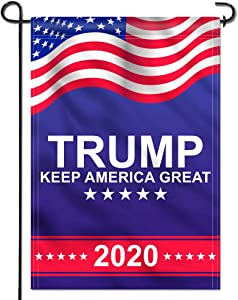 Anley Double Sided Donald Trump 2020 Garden Flag - Keep America Great Garden Flags - Weather Resistant & Double Stitched - 18 X 12.5 Inches