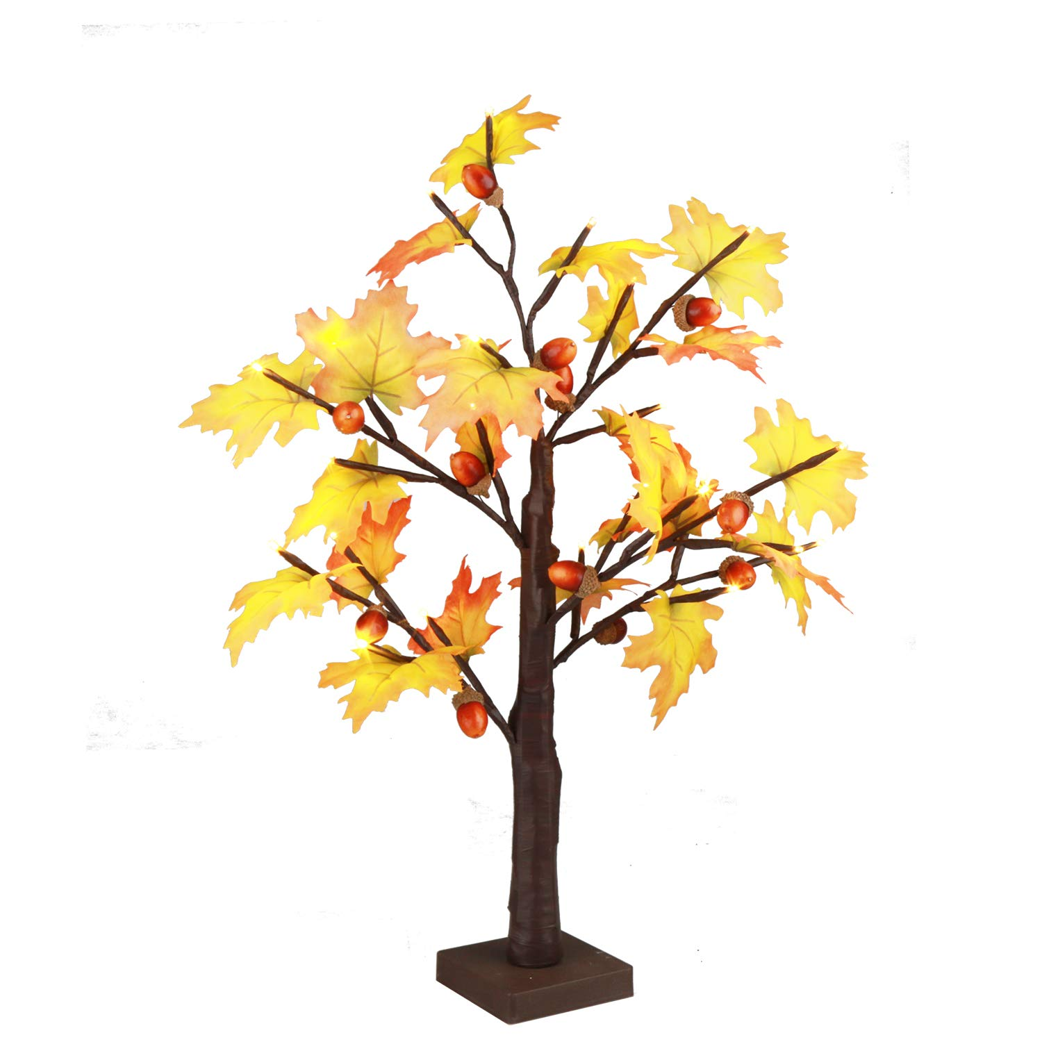 EAMBRITE 2FT 24LT led Fall Maple Tree Lighted Tabletop Tree Decorative Fall Thanksgiving Home Wedding Party