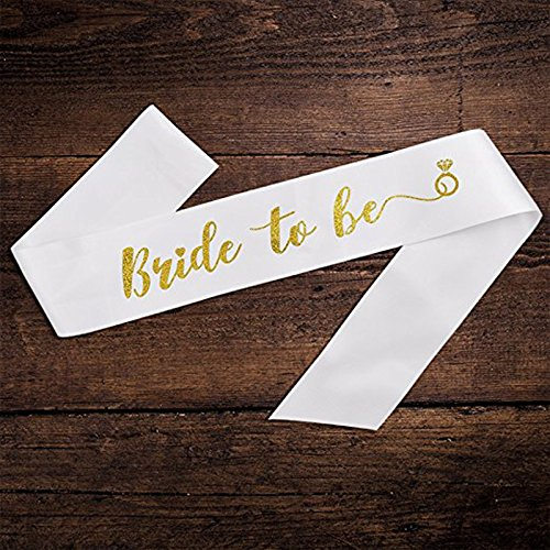 White With Gold Diamond Ring 'Bride To Be' Sash