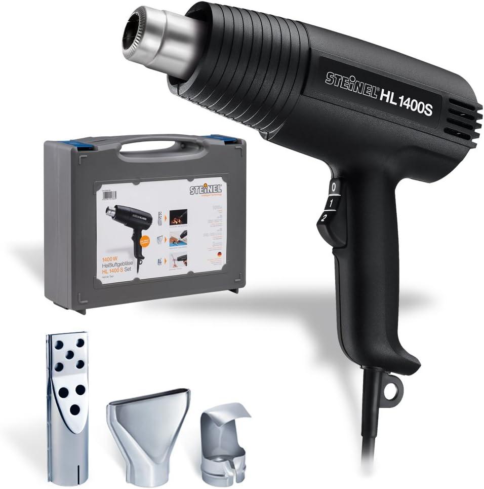 Steinel Heißluft-soplador HL 1400 S en el conjunto incluido valija y 3 boquillas, pistola de aire caliente con 1400 vatios, 300/500 ° C, 240/450 l/min, ideal pistola de calor como accesorios Grill, pa