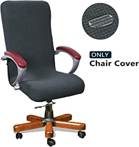 WOMACO Stretch Computer Chair Cover Stretchable Large High Back Desk Chair Covers Decorative Office Chair Slipcover (Dark Gray, Large)