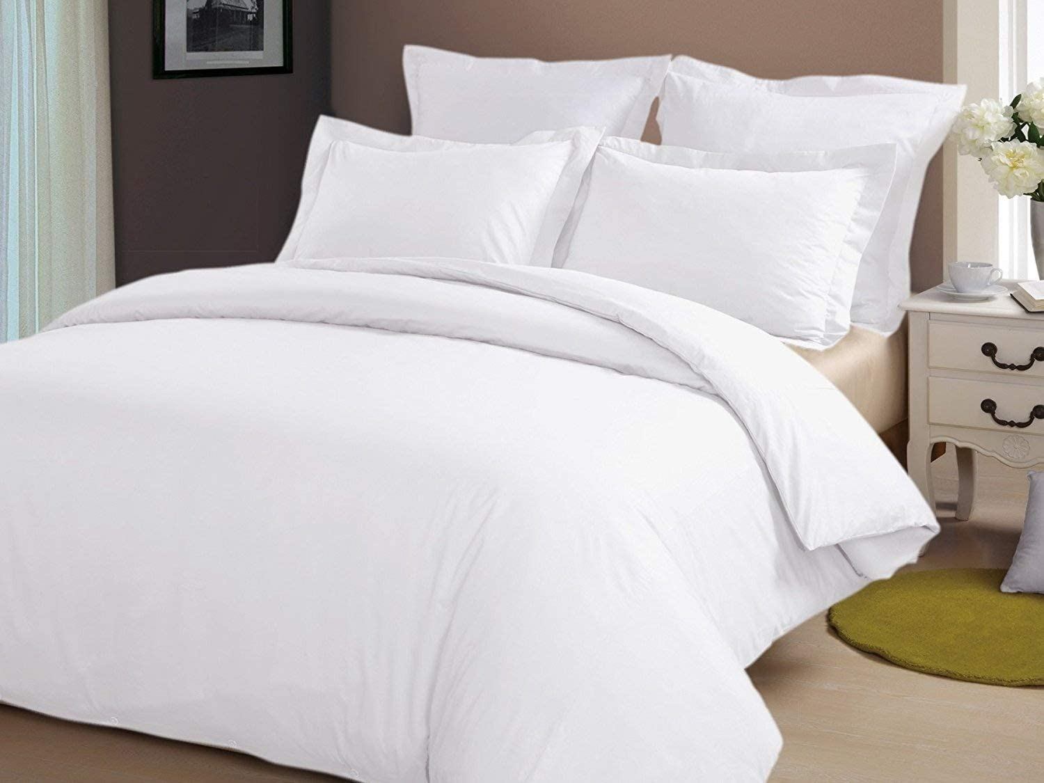 """Precious Star Linen Hotel Quality 800 Thread Count Egyptian Cotton 3pc Duvet Cover Set Zipper Closer Oversized Super King Size (120"""" x 98"""") With Corner Ties (White Solid)"""
